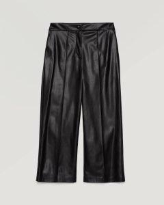 sisley pantaloni cropped ecopelle