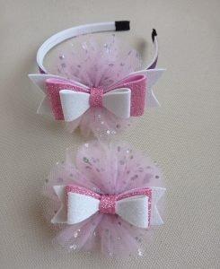 cerchietto bambina fiocco bianco e rosa con tulle