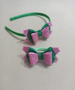 cerchietti per capelli bambina, cerchietto fiocco verde e rosa